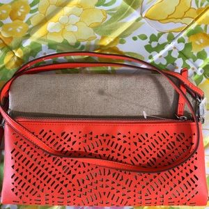 Stella & Dot Bags - Crossbody-Orange and raffia-linen perforated bag